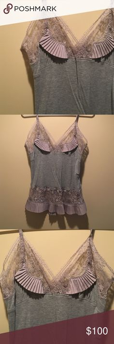 Party top. Gray lace and pleated top. Thin straps. Gorgeous lace and pleat detail. Tops Blouses