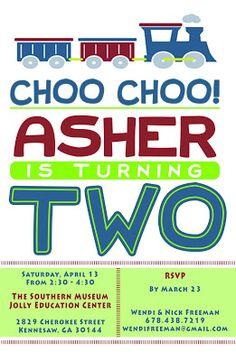 Train Invitation, choo choo train party, birthday party, train party, 2nd birthday party