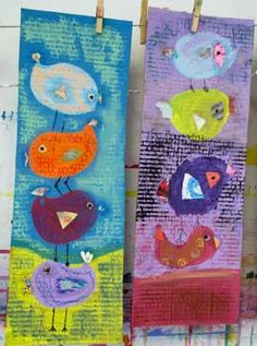 Small Hands Big Art students created these colorful stacked birds - No drawing, just painting and added collage collage papers