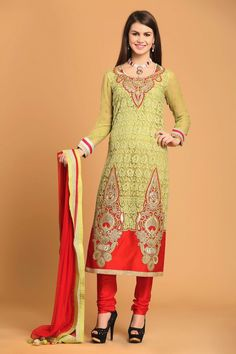 Green Net Churidar with Full Sleeve Kameez and Red dupatta. Comes with U Neck Kameez and Embellished with Embroidered, Resham, Zari work with price $90.96. http://www.andaazfashion.us/green-net-churidar-1581.html