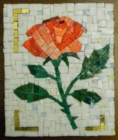 Rosa 12x18 cm e 10x10 cm smalti e ori veneziani mosaico tecnica diretta