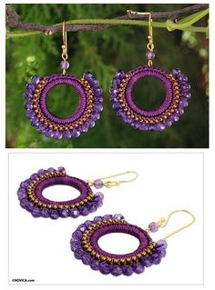 Amethyst Crocheted Earrings Crafted by hand, these beautiful earrings combine divinely purple amethysts with tiny brass beads. Earring Crafts, Jewelry Crafts, Handmade Jewelry, Seed Bead Crafts, Crochet Earrings Pattern, Beadwork Designs, Crochet Circles, Bead Jewellery, Thread Crochet