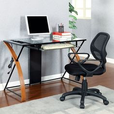 SKU CM-DK6226 Contemporary, table desk, glass metal and wood, key board pull-out tray, usb ports & power outlets, curved Z shape legs.