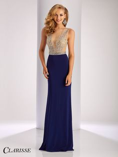 Clarisse Prom Dress 3080.  Fitted jersey dress with crystal embellished bodice and sheer mesh back. COLOR: Marsala, Navy SIZE: 00-20 Click through to find more gorgeous navy dresses! Find your Clarisse authorized retailer today by searching with your zip code at the link below! http://clarisse.com/locator/index.php