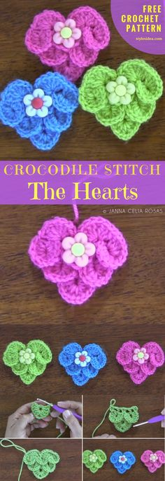 Hearts with #CrocodileStitch #FreeCrochetPattern  Crochet → Stitch | size: any | Written | US Terms Level:beginneryarn: Lily Sugar and Cream Key Lime Pie orbaby woolhook: 5mm(L)materials: scissors, decorativebuttonsAuthor: by Anna Celia Rosas. Mostly every crocheter heard about crocodile stitch, but it's maybe the first contact with this fabulous project.