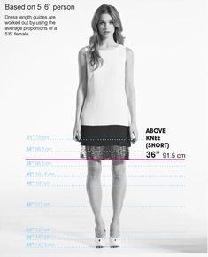 "Dress Length Cheat Sheet. As it turns out, I am 5'6""!"