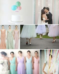 pretty pastels wedding ideas and inspiration board// I really like the bridesmaids dress colors