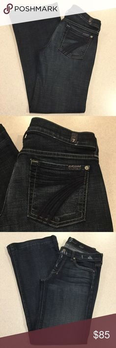 7 For All Mankind Jeans 30X32 Dojo In Cadet! ❗️PRICE ABSOLUTELY FIRM❗️ 7 for all mankind jeans Size 30 32 inch professionally hemmed inseam The dojo in Cadet Famous blue stitched 7 back pockets Vibrant blue stretch denim with medium fading and distressing Perfect preowned condition, no flaws Retailed for $212.00 My dojos sell fast so don't wait on these!  All of my items come from a smoke free, pet free home and are authenticity guaranteed! Please ask any questions. 103-18 7 For All Mankind…