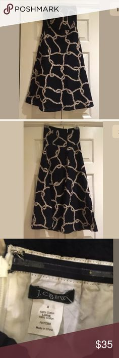 J Crew Navy Strapless rope print dress Sz 4 $118 Gorgeous full skirt strapless dress from j Crew. In excellent condition. Navy blue with rope print. Back zip. Size 4 $118. J. Crew Dresses Strapless