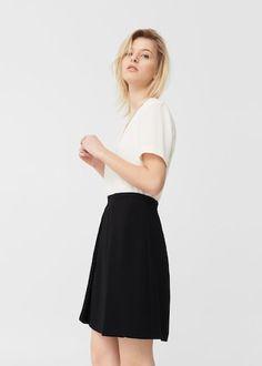 Monochrome contrast-bodice dress -  Women | MANGO USA