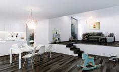 déco salon blanc avec parquet grisâtre, canapé gris et chaises Eames blanches