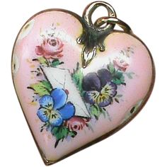 Antique Victorian 9k Gold Back Enamel Sweetheart Pansy Heart Locket Pendant