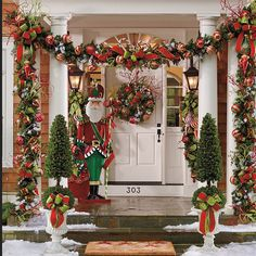 Outdoor Christmas Decoration Ideas - Colorful Garlands with Santa - Click Pic for 20 Front Porch Christmas Decorating Ideas