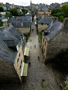 La Rue des Libraires Dinan France. We stayed on the castle walls here. Woke up in the morning and looked out over the town.