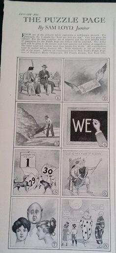 "JANUARY 1915 MAGAZINE PAGE- THE PUZZLE PAGE, BY SAM LOYD JUNIOR- ""PROVERBS"" #SAMLOYDJUNIOR"