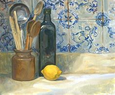 Painting of Still Life with Lemon, Lavender and Bottles