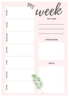 Weekly planner Goal Tracker To do list Goal Worksheet To Do Planner, Daily Planner Pages, Goals Planner, Blog Planner, College Planner, College Tips, Daily Planners, Fitness Planner, Weekly Planner Template