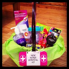 """New Nurse Survival Kit"" gift basket. Link to free tag included!"