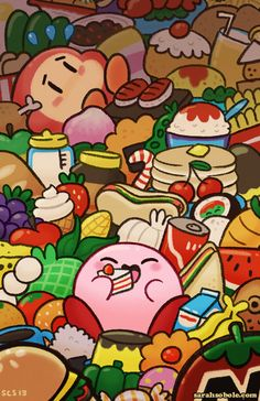 Kirby food illustration for Kirby's Dream Zine by crapmachine