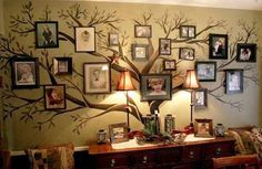 tree with photographs for wall decoration