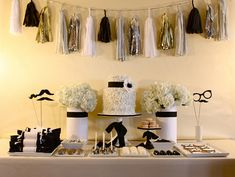black and gold graduation party | the black white and gold garland would be a great accessory to use for ...