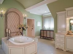 Romantic Cottage Bathroom >> http://www.hgtvremodels.com/bathrooms/minty-fresh-bathroom-redo/index.html?soc=pinterest#