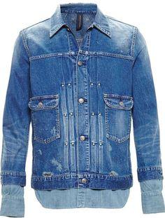 $715, Blue Denim Jacket: Miharayasuhiro Mihara Yasuhiro Distressed Denim Shirt Jacket. Sold by farfetch.com. Click for more info: https://lookastic.com/men/shop_items/292746/redirect