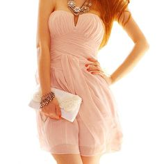 Pink Sexy Sweet Strapless Low-cut Dress For Women