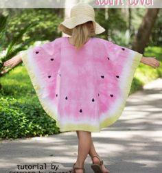 DIY Tie-dye watermelon swim cover (free sewing pattern) // Egyszerű nyári dinnye poncsó (strandruha) - ingyenes szabásminta // Mindy - craft & DIY tutorial collection