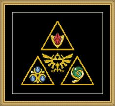 Triforce Spiritual Stones Zelda Cross Stitch Pattern PDF