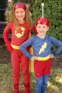 Word Girl and Captain Huggyface how to costumes-- because my determined little lady insists on being WordGirl (not sure how well her little bro is going to like being Huggyface)