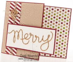 Cherry Cobbler and Crumb Cake cardstock; Season of Style DSP; Champagne Glimmer paper; Northern Flurry and Stylish Stripes TIEFs; Expressions Thinlit; Merry Minis punch pack; Linen thread.