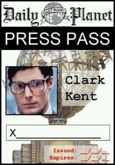 Punchy image inside clark kent press pass printable