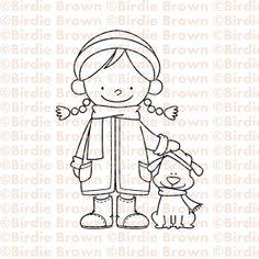 Digital stamp -- Winter girl & Puppy