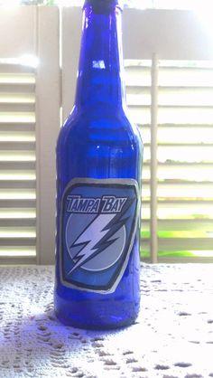Tampa Bay Lighting Hockey Team Oil Dispenser Soap Liquor Cobalt Blue Glass  with Chrome Pourer for Man Cave b5cfe2599b0c
