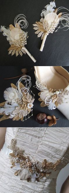 Bridal Peacock Pheasant Feathers Shoe Clips, Bridal Belt, Hair Fascinator, and Lapel Pins. A few of the items in the Cia range in the Etsy store. All handmade to order and can be made to match your outfits, using your lace if require. Can accent in colour
