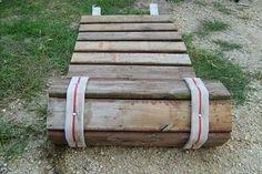 Roll-up sidewalk made from pallet wood and old fire hose. Good for the camper could make it wider - campinglivezcampinglivez