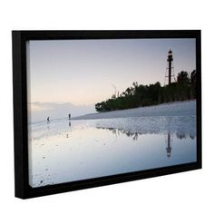 ArtWall Sanibel Lighthouse by Steve Ainsworth Framed Photographic Print on Wrapped Canvas, Gray