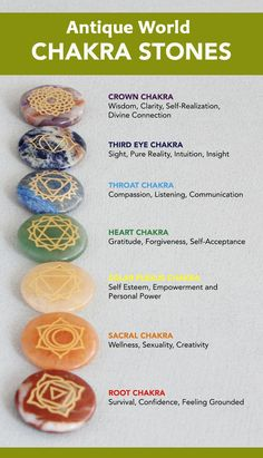 Chakras are energy centers of the body, and each one is responsible for certain physical, spiritual, and emotional functions. Focusing on and balancing our chakras can help realign them. This set of seven stones lets you meditate on whatever Chakra you fe Chakra Crystals, Chakra Stones, Stones For Chakras, Healing Crystals, Crystal Healing Chart, Plexus Solaire, Chakra Affirmations, Mudras, Daily Meditation