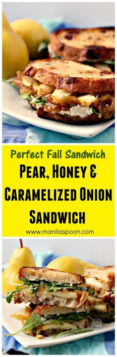 A burst of flavors - fruity sweet, cheesy, herby and buttery yum greet your taste buds with each bite of this delicious sandwich - Pear, Honey, Cheese and Caramelized Onion Sandwiches! A delicious appetizer for Thanksgiving, Christmas or any holiday!