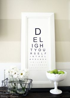 Eye Chart Art - this appeals to the optometrist and Christian in me!  Clever idea!