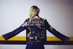 Bob Dylan and Joan Baez denim custom jacket with hand painted quote and leather pattern by @ceuhandmade