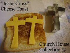 Jesus Cross Cheese Toast Easter Snacks.