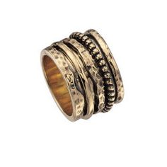 Antiqued Bronze Multi Spinner Band Ring