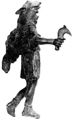 Another bronze figurine of a bearded god (Sucellos? Silvanus?) wearing a wolf skin. (Bibliographie: M. Vignard, Découverte d'une statuette en bronze à Mours, près de Romans, Cahiers Rhodaniens, III, 1956, 79).