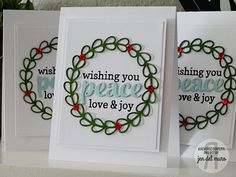 Christmas card by Jen del Muro. Reverse Confetti stamp set: Winter Word Coordinates. Confetti Cuts: Winter Words and Wreaths. Love, Peace, & Joy. Winter card.