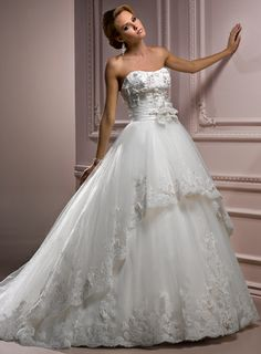 Gorgeous Scoop Ball Gown Chapel Train bridal gowns