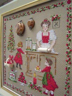 It's been over a year since I started this embroidery, and here it is ready and framed in time for the holidays! & Christmas accessories & happiness for women ref: 2617 20 x 21 cm Aïda bis – kit with accessories Cross Stitching, Cross Stitch Embroidery, Embroidery Patterns, Hand Embroidery, Cross Stitch Patterns, Christmas Embroidery, Diy Broderie, Cross Stitch Kitchen, Cross Stitch Finishing