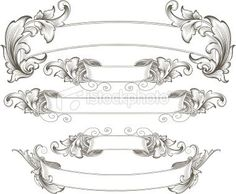 Scroll Banner | Intricate Engraved Banners Royalty Free Stock Vector Art Illustration: