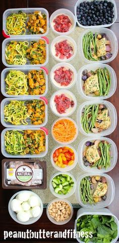 Meal Prep Monday - this week's meal prep ideas include: --Butternut Squash Zoodles with Spicy Italian Sausage --Skillet Honey Garlic Chicken with Fingerling Potatoes and Green Beans --Turkey Salad --Peanut Butter and Jelly Overnight Oats  --Nutrition info, recipes and meal plan are included. #MealPrepMonday